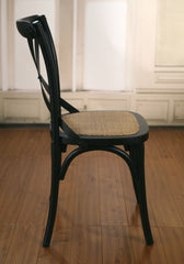 Dining Chair Cross Back Black Birch