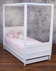Single Bed 4 Post French Provincial Mahogany Antiqued Kids Poster Bed Trundle