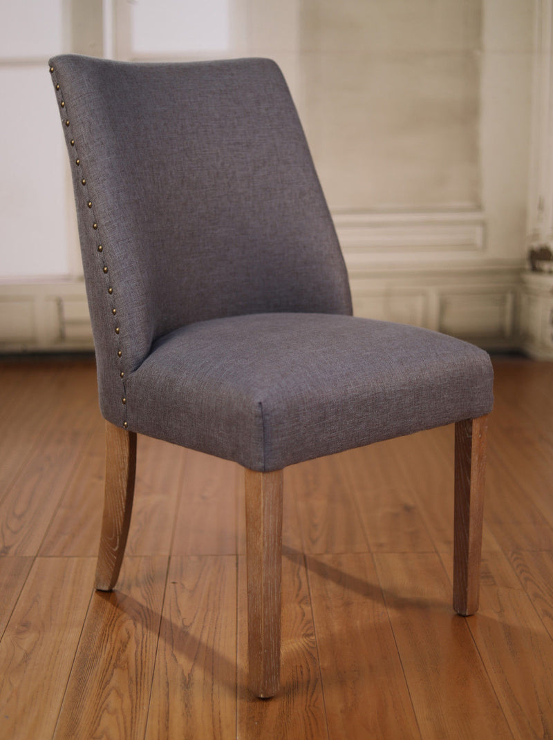 Dining Chair Grey Linen French Provincial Oak Bedroom Furniture Button Brand New