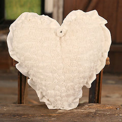 Cushion Throw Pillow Heart Ribbon Roses Home Decor Filled 30cms BRAND NEW