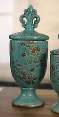 Ceramic Fleur de Lis Straight Top Canisters Provincial NEW Two Sizes Available (Large)