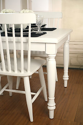 5 Piece Dining PACKAGE French Provincial Chairs & Table White 140x90cm