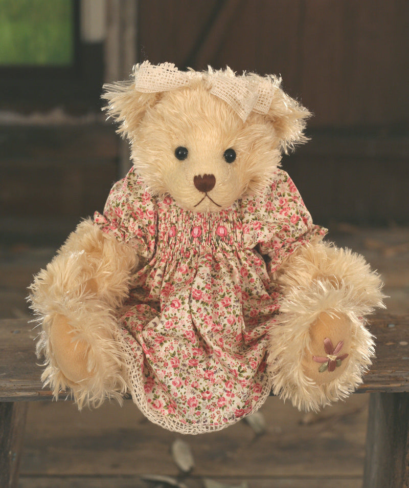 Teddy Bear 'Joan' Settler Bears Handmade Floral Dress Collectable Gift 35cms NEW