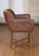 Italian Leather Dining Chair Top Grain Tan French Provincial Oak Bedroom Chair