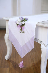 Table Runner White with Embroidery Mauve Home Decor Party Decoration 150cms NEW