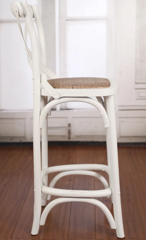 Charmont Stool White Cross Back Cafe