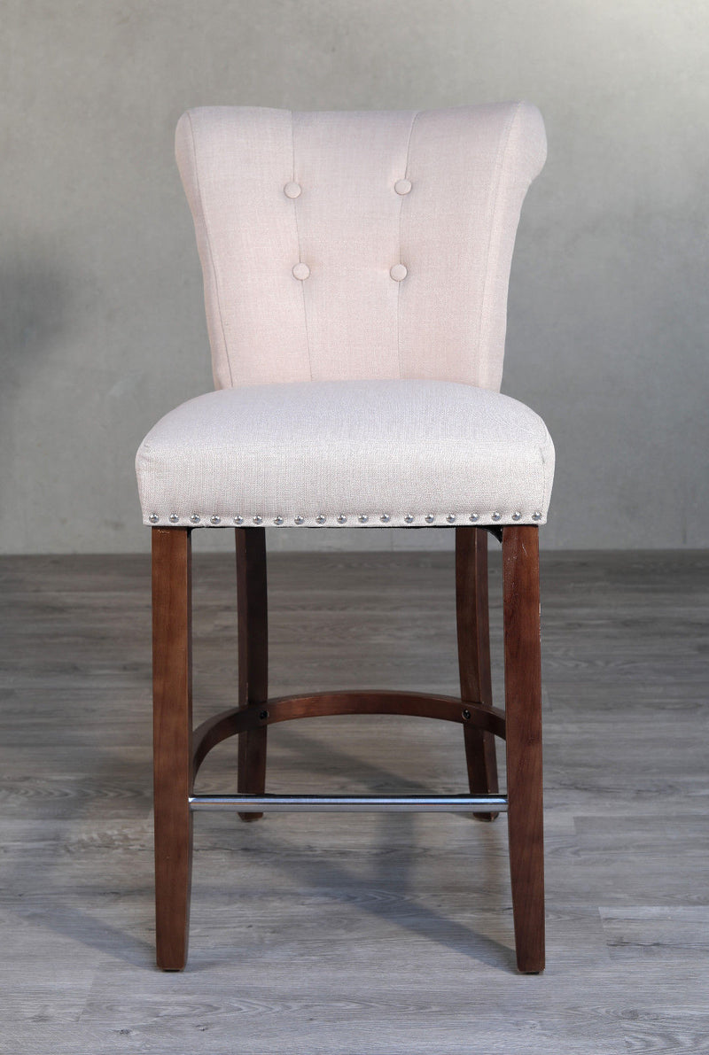 Bar Stool Oak Upholstered French Provincial Studded Barstool Hardwood NEW