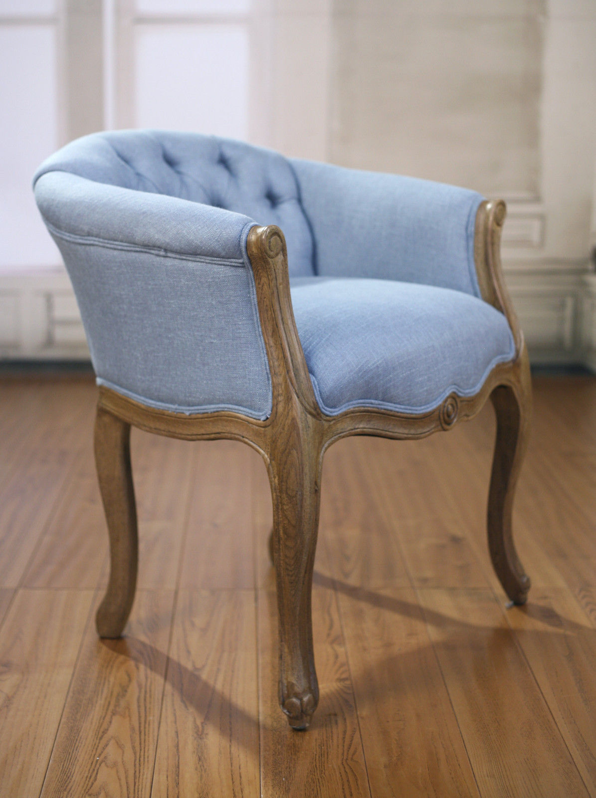 Beaumont Dining Chair French Provincial Oak Blue Linen Buffet And Hutch