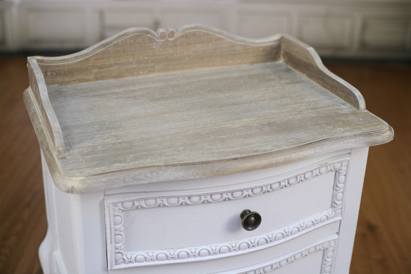 Bedside Chest French Provincial Antique White Table 2 Drawer
