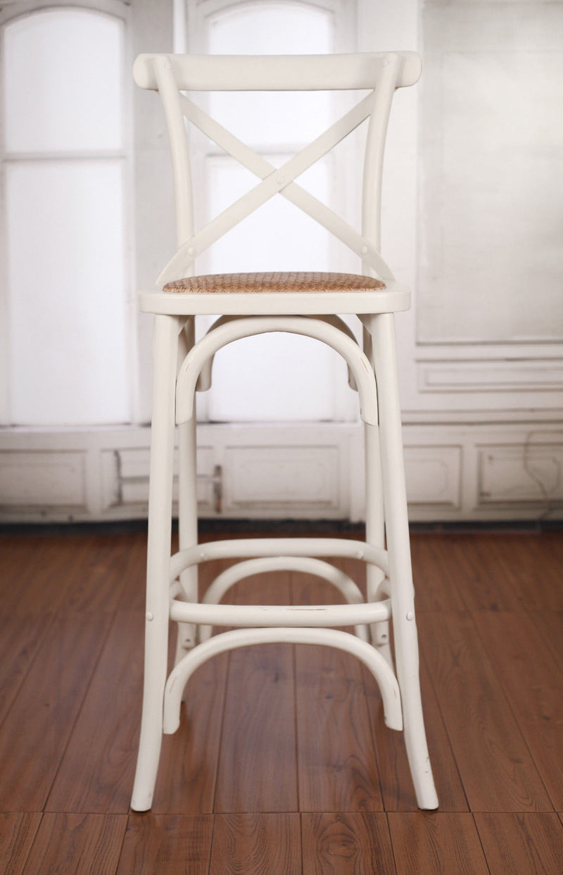 Bar Stool Antique White Cross Back French Provincial Birch Cafe Barstool