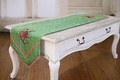 2 x Table Runners Green with Embroidery Home Decor Party Decoration 150cms