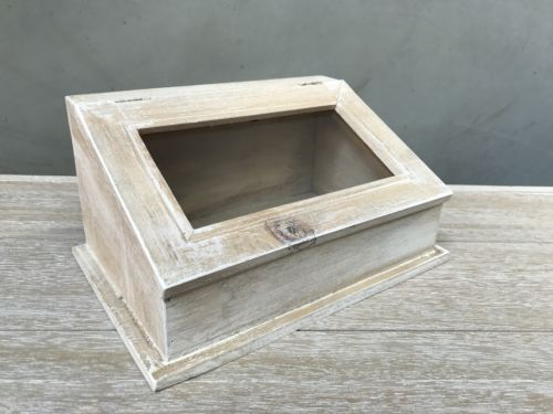 Storage Box Vintage Style Glass Top Timber Crate Homewares Bathroom