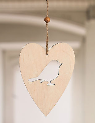 Wood Heart with Carved Bird Home Decor Gift 15cms