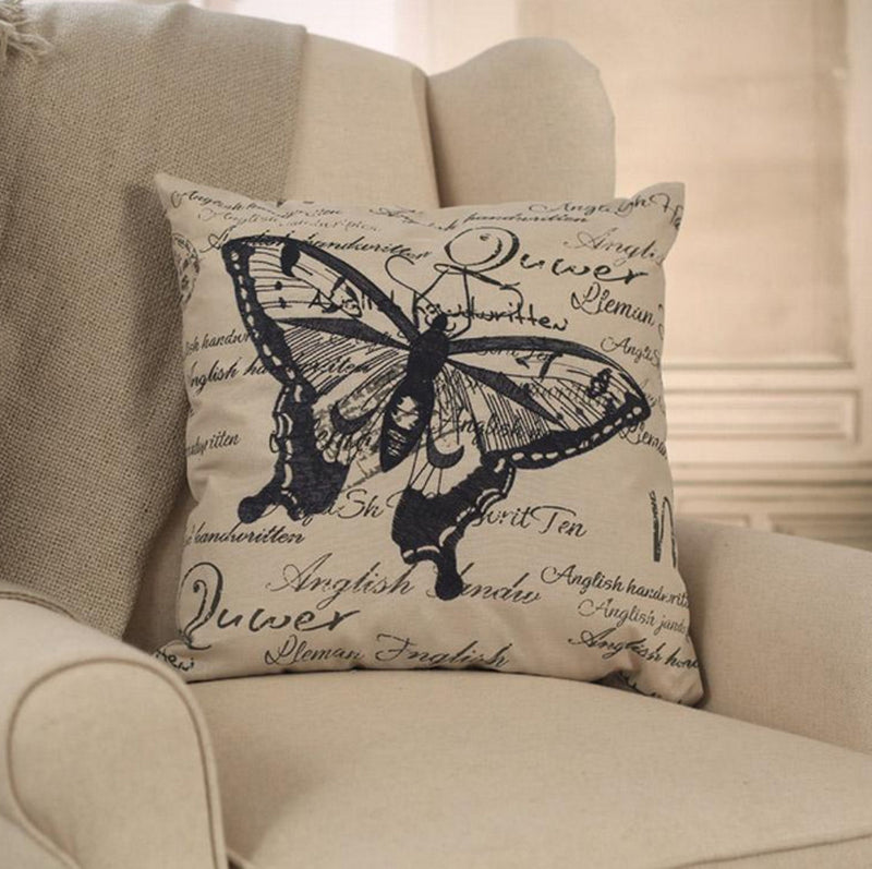 Grey Butterfly Script Cushion French Provincial