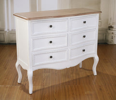 Chest of Drawers 6 Drawer French Provincial Brown Top Dresser White