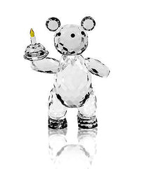 Crystal Teddy Bear Holding Cake Ornament 11cms. BRAND NEW.