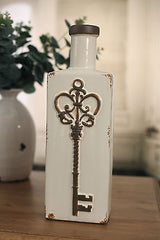 Vase Antique Style Rustic 'Key' French Provincial Style Home Decor 36cms Cream