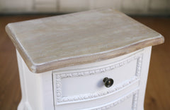 Bedside Chest French Provincial Antique White Bedside Table 2 Drawer Night Stand