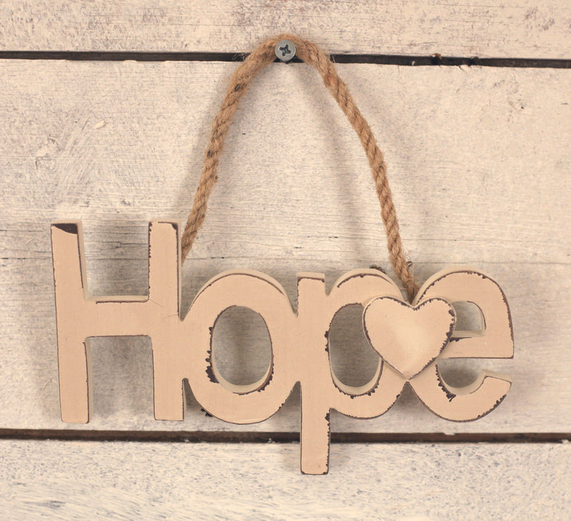 'Hope on a Rope' Twine Rope Antique Cream Antiqued Home Decor Gift 17cms NEW