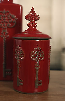Canister French Provincial Antique Style Rustic 'Key' Home Decor 28cms NEW Red