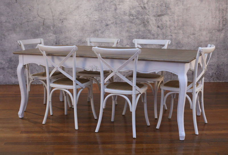 Pre-order: Setting 9 PIECE 2x1m Dining Table & Cross Back Chairs - Floor stock