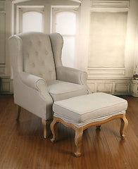 Wingback Button Back Linen Chair with Ottoman Oak French Provincial Arm Chair