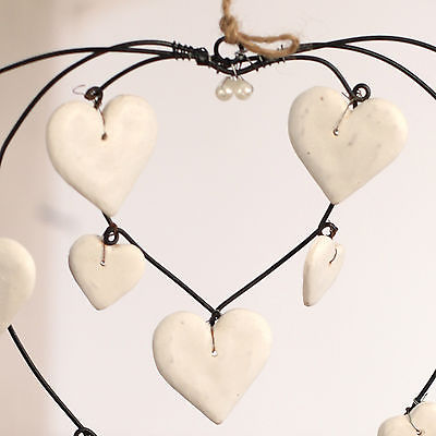Rustic Hanging Hearts Wreath Home Decor 30cms. BRAND NEW. Cream