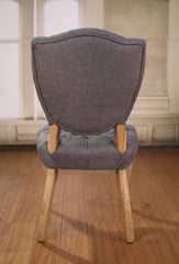 Dining Chair Linen French Provincial Hardwood Oak Bedroom Chair Button New