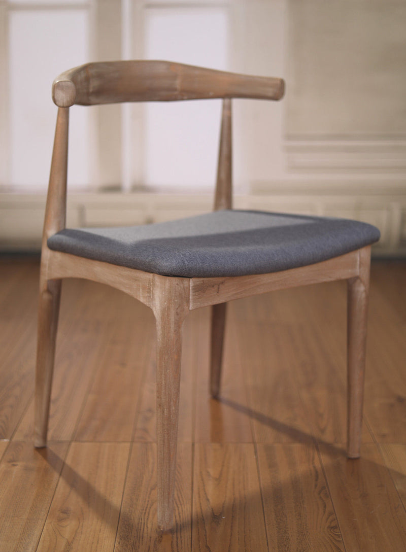 Dining Chair Hardwood Grey Upholstered Scandinavian Furniture Brand New