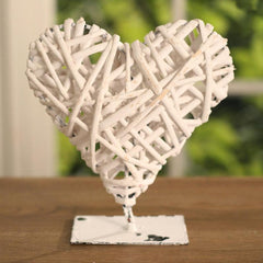 Woven Heart on Metal Stand 16cms - Two Colours available