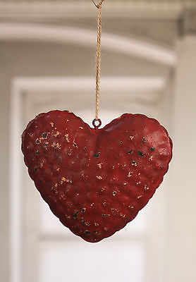 Rustic Hanging Tin Heart 18cms Home Decor Hanger BRAND NEW Red