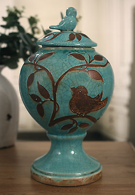 Canister Rustic Ceramic Bird Top Home Decor Gift Aqua 36cms Rounded