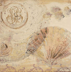 Dominguez 'Brown Shells 1' Giclee Canvas Art 50x50cms