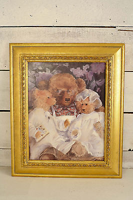 Teddy Bear Print Beadtime Readig Bear in Frame. Kids Room Print. BRAND NEW