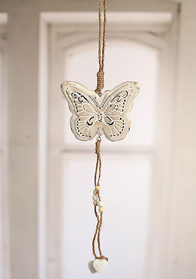 Butterfly Rustic Hanging Home Decor Hanger 40cms BRAND NEW Cream