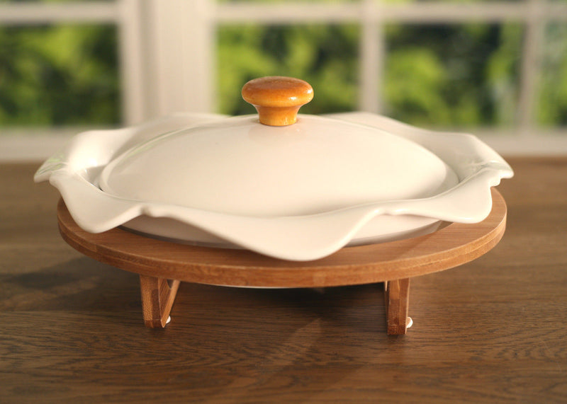 Soup Tureen Ceramic Eco Friendly Bamboo 25cm