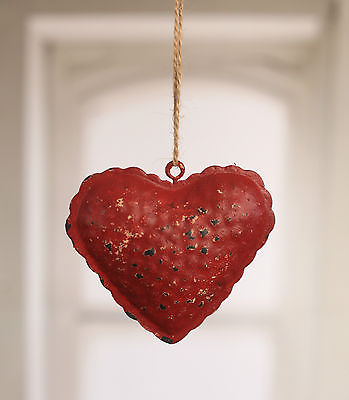 Rustic Hanging Tin Heart Home Decor Hanger 10cms. BRAND NEW. Small