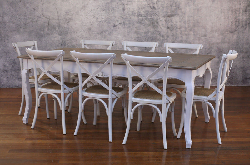 Setting 9 PIECE 2x1m Dining Table & Cross Back Chairs - Floor stock