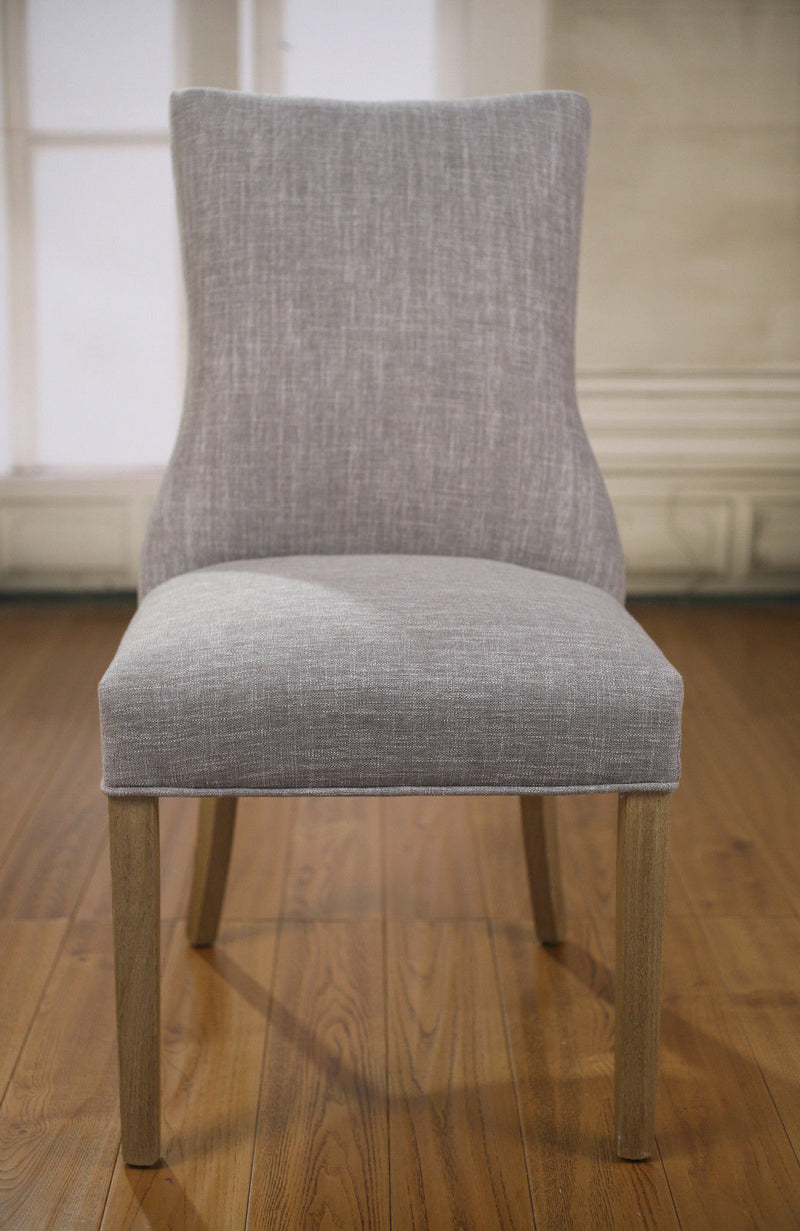 Dining Chair Linen Grey French Provincial Oak Button