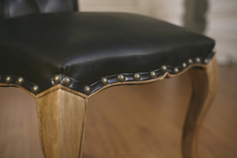Dining Chair Antiqued Leather French Provincial Oak Hardwood Upholstered Button