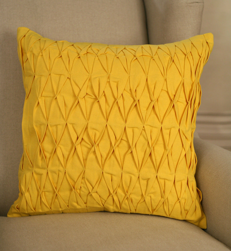 Decorator Cushion 45x45cms - Ruched Yellow Decor Throw Pillow