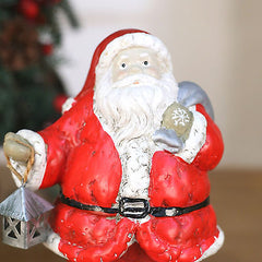 2 x Christmas Santa Statue Ornament Festive Decoration Home Decor Gift 21cms