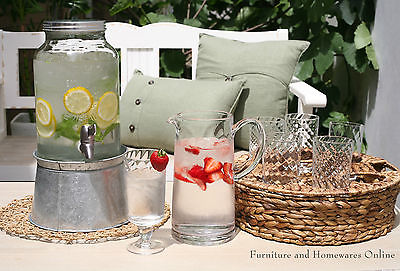 Glass and Pitcher 8 Piece Set Garden Party. Includes Woven Carry Tray NEW