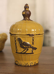 Canister Antique Style Rustic Birdcage French Provincial Decor 24cms NEW Yellow