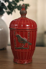 Canister Antique Style Rustic Birdcage French Provincial Vase 28cms NEW Red