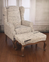 Wingback French Script Linen Chair with Ottoman Oak French Provincial Arm Chair