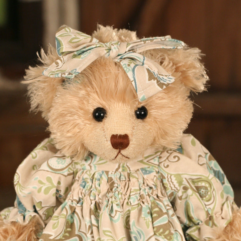 Teddy Bear 'Carmel' Settler Bears Handmade Linen Dress Collectable Gift 38cms