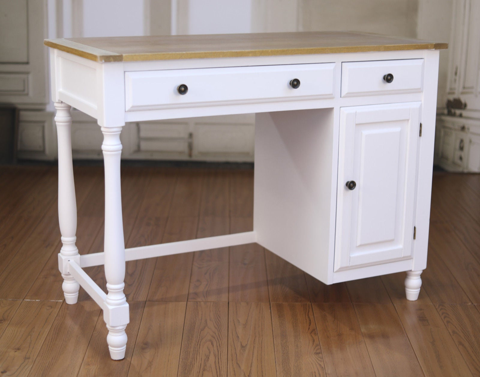 Desk French Antique White Timber Top Hamptons Furniture Office
