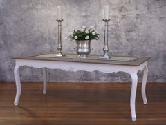 Setting 7 Piece 2x1m Dining Table & Button Linen Chair French Provincial Package