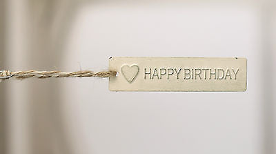 10 x HAPPY BIRTHDAY Metal Tags with Twine Loop Home Decor Party Favour